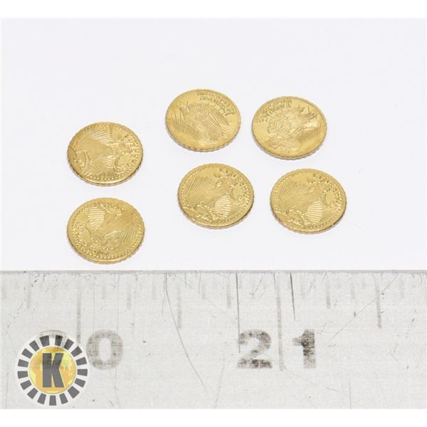 15)  LOT OF 6 24 KT GOLD PLATED US MINI COINS.