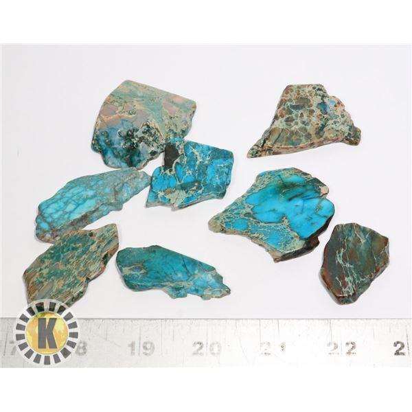 8)  LOT OF 8 TURQUOISE BLUE JASPER MINERAL