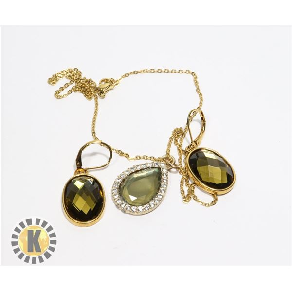 20)  GOLD TONE WITH LAB CREATED OIVE GREEN
