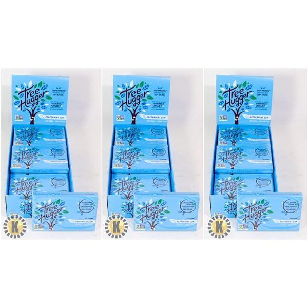 3 BOXES OF TREE HUGGER PEPPERMINT GUM - 12 PACKS