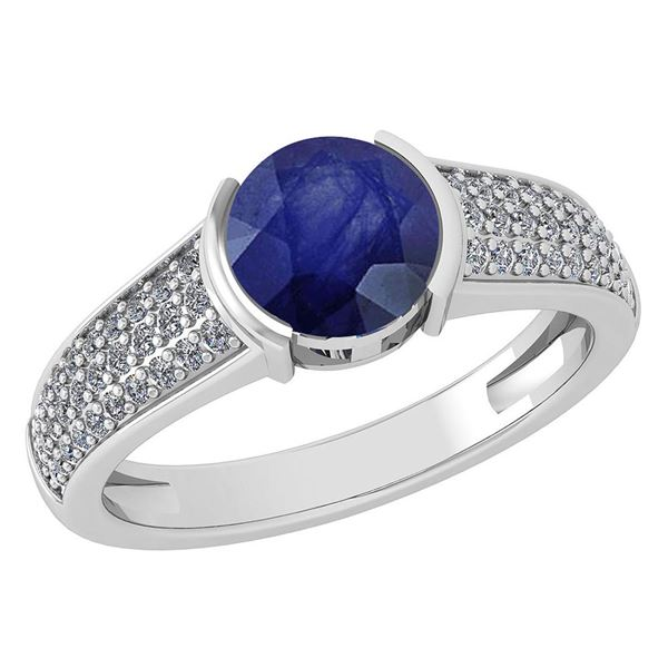 Certified 1.55 Ctw Blue Sapphire And Diamond 14K White
