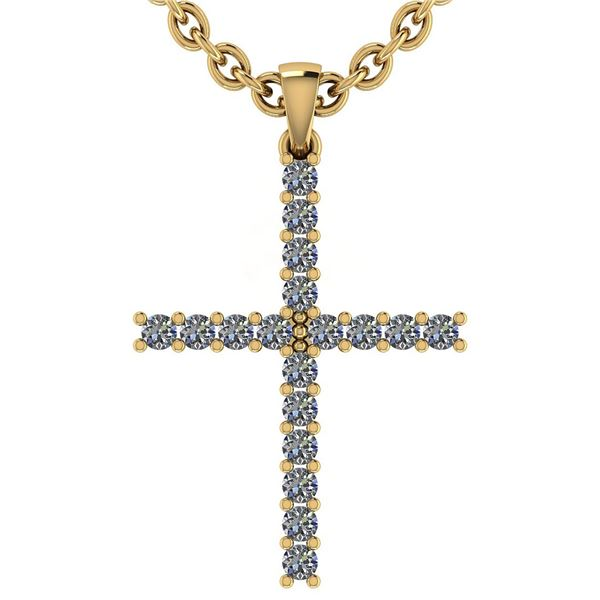 Certified 0.54 Ctw Diamond 18k Yellow Gold Pendant