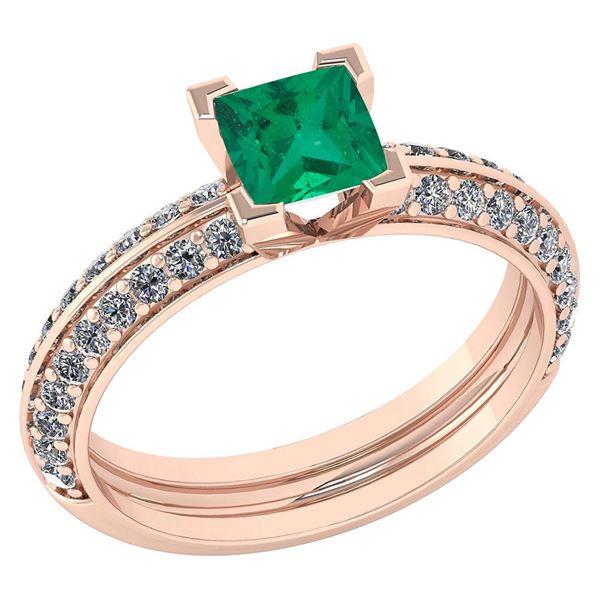 Certified 1.23 Ctw Emerlad And Diamond Wedding/Engageme