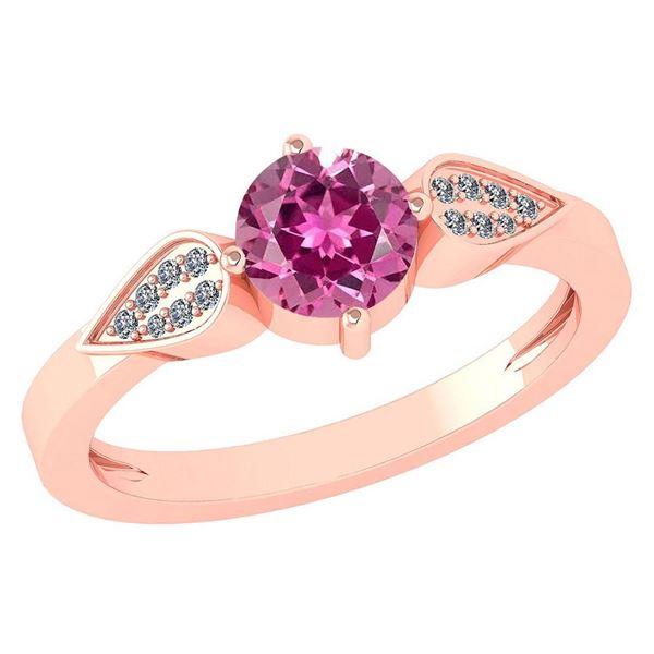 Certified 1.12 Ctw Pink Tourmaline And Diamond 14k Rose