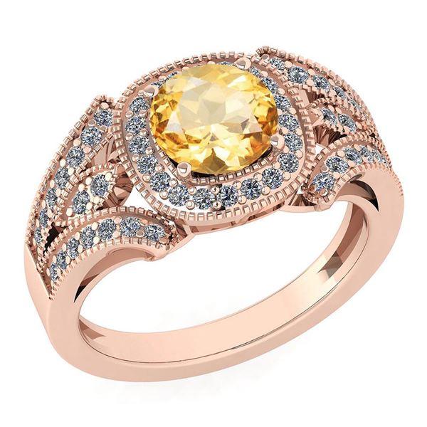 Certified 1.58 Ctw Citrine And Diamond Wedding/Engageme