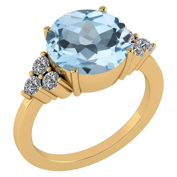 Certified 3.60 Ctw Blue Topaz And Diamond VS/SI1 Ring 1