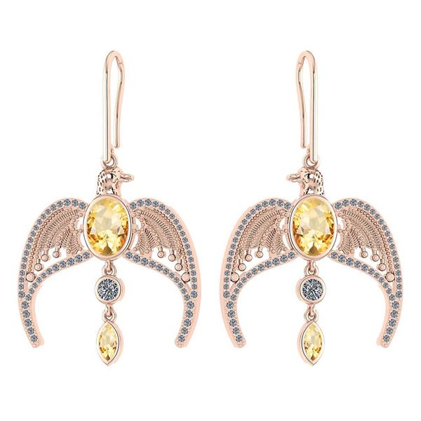 Certified 3.46 Ctw Citrine And Diamond Eagle Wire Hook