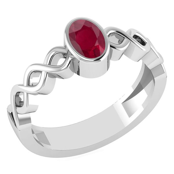 Certified 0.50Ctw Genuine Ruby 14K White Gold Ring