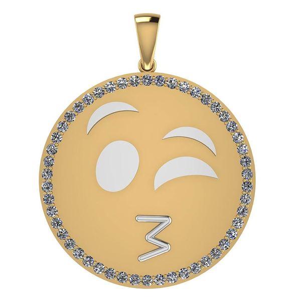 Certified 0.90 Ctw Diamond Smiley 18K Yellow Gold Penda