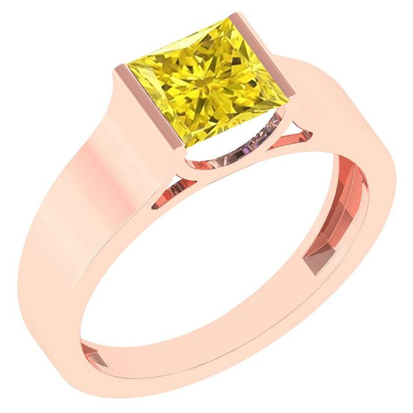 Certified 0.75 Ctw Princess Cut Fancy Yellow Diamond 18