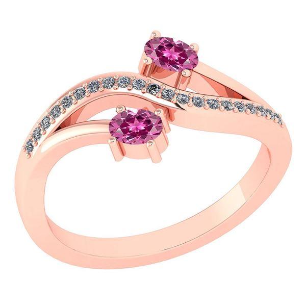 Certified 0.53Ctw Pink Tourmaline And Diamond 14k Rose