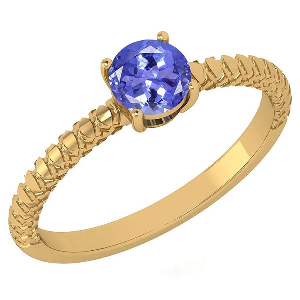 Certified 0.45 Ctw Tanzanite Solitaire Ring with Filigr