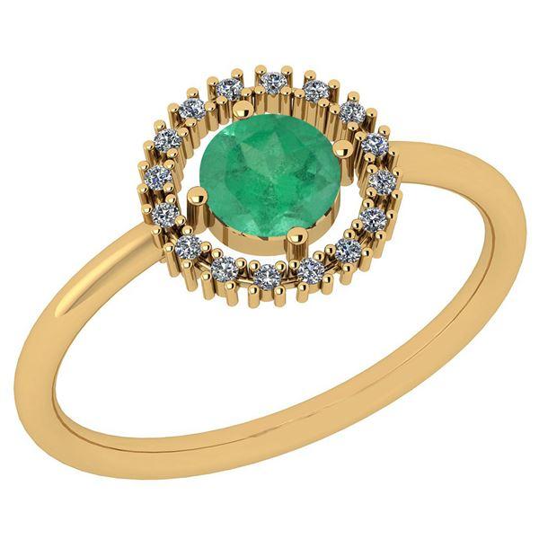 Certified 0.77 Ctw Emerald And Diamond SI1/SI2 14K Yell
