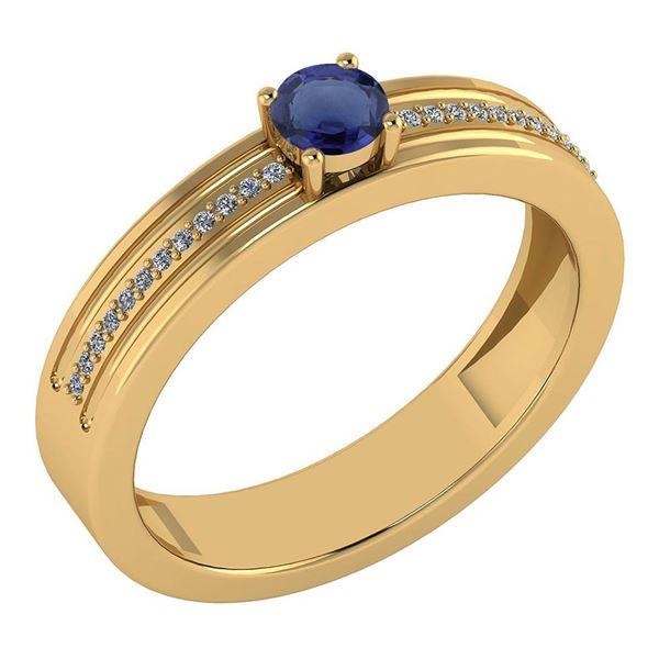 Certified 0.29 Ctw Blue Sapphire And Diamond 18k Yellow
