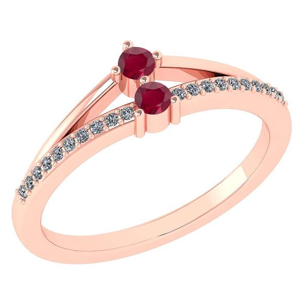 Certified 0.22 Ctw Ruby And Diamond 14k Rose Gold Halo