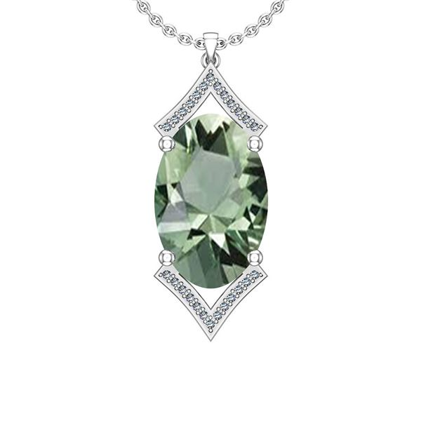 Certified 13.92 Ctw I2/I3 Green Amethyst And Diamond 14