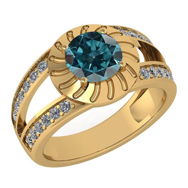Certified 1.58 Ctw Treated Fancy Blue Diamond And White