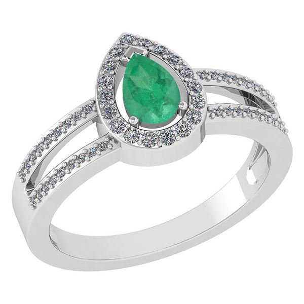 Certified 0.74 CTW Emerald And Diamond 14k White Gold H
