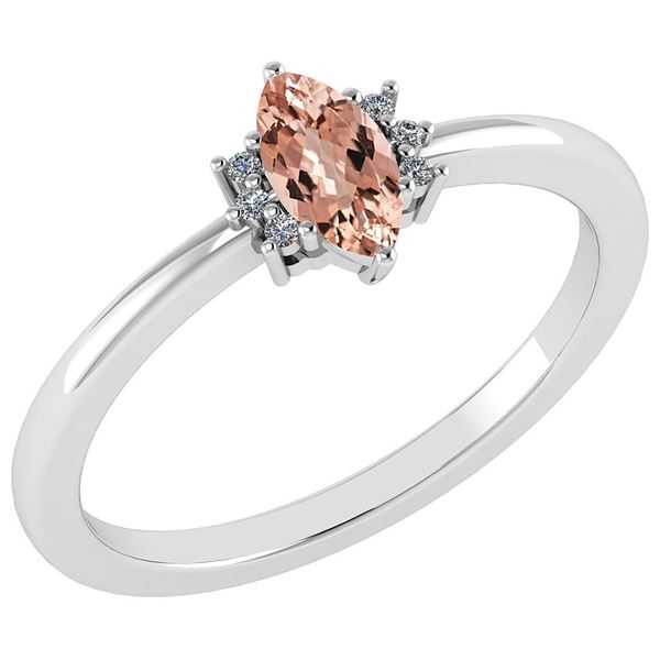 Certified 0.68 Ctw Morganite And Diamond VS/SI1 Ring 14