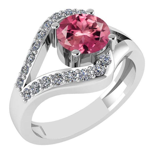 Certified 1.07 Ctw Pink Tourmaline And Diamond VS/SI1 H