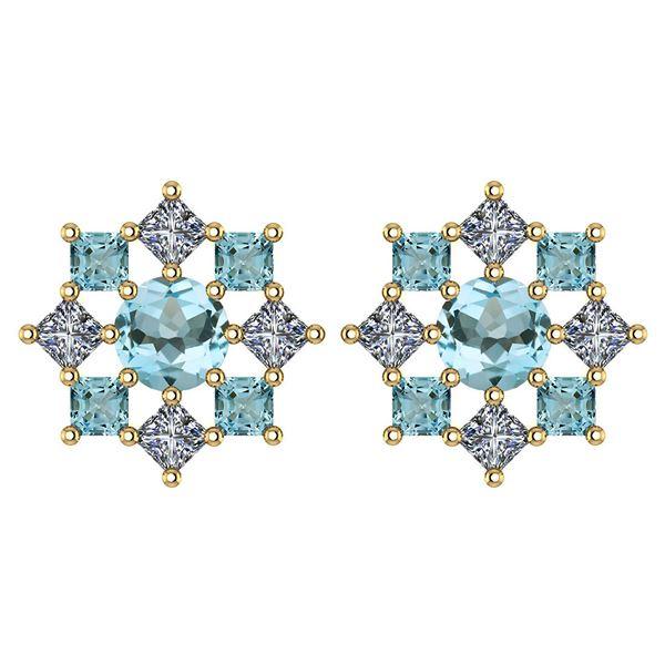 Certified 1.46 Ctw Aquamarine And Diamond 18k Yellow Go