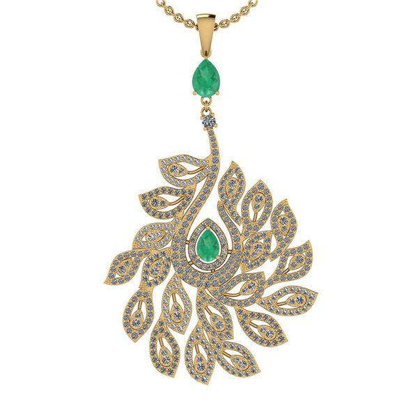 Certified 3.99 Ctw SI2/I1 Emerald And Diamond 14K Yello