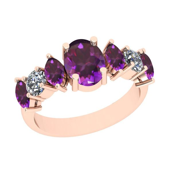 Certified 2.15 Ctw i2/i3 Amethyst And Diamond 10K Rose