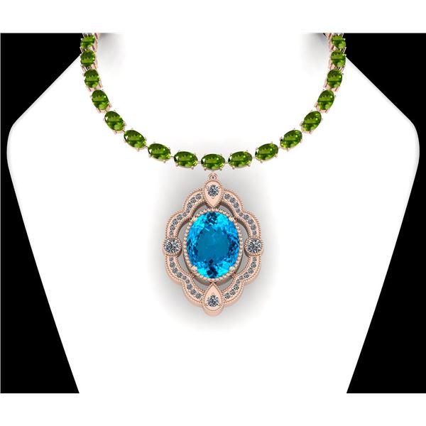 Certified 71.00 Ctw Blue Topaz &Peridot And Diamond I2/