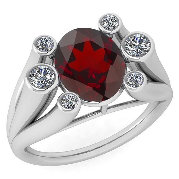 Certified 2.82 Ctw Garnet And Diamond VS/SI1 Ring 14K W