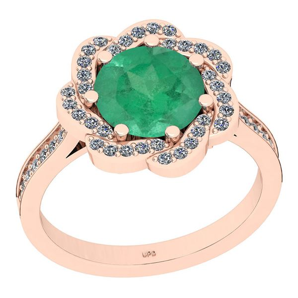 Certified 2.30 Ctw SI2/I1 Emerald And Diamond 14K Rose