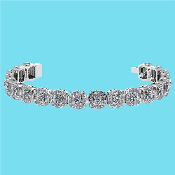 Certified 3.60 Ctw SI1/I2 Diamond 18K White Gold Bracel