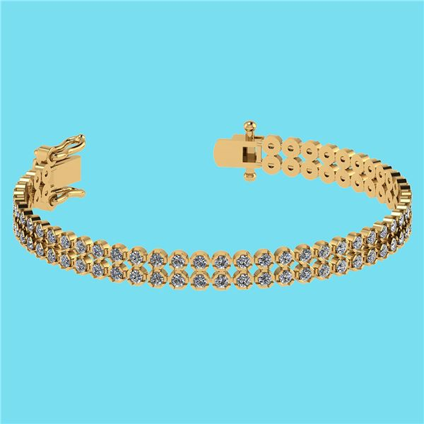 Certified 1.50 Ctw SI2/I1 Diamond 14K Yellow Gold 2 Row