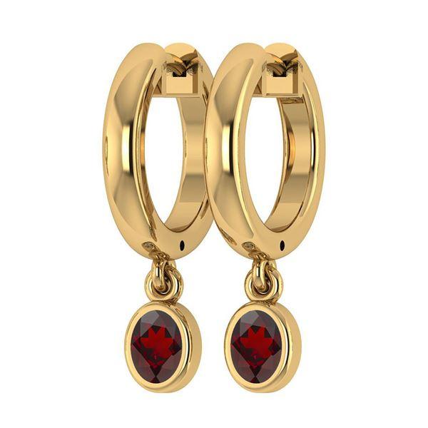 Certified 1.00 Ctw Garnet Hoop Earring 18K Yellow Gold