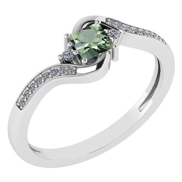 Certified 0.51 Ctw Green Amethyst And Diamond 14k White