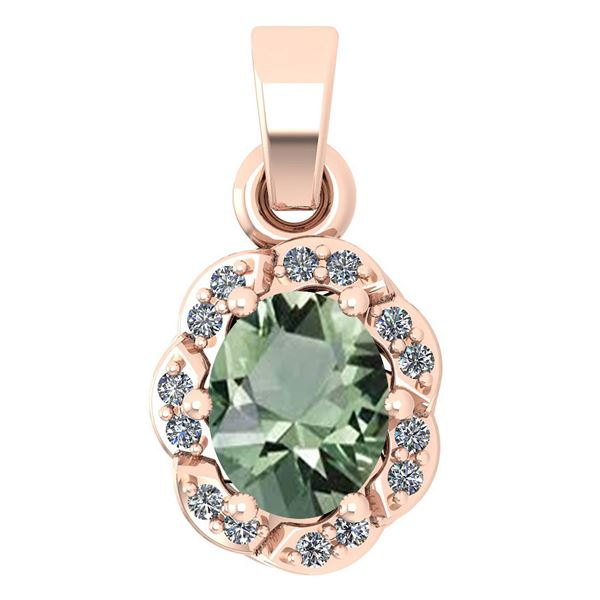 Certified 0.38 Ctw Green Amethyst And Diamond 14k Rose