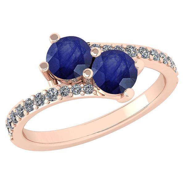 Certified 1.24 Ctw Blue Sapphire And Diamond Wedding/En