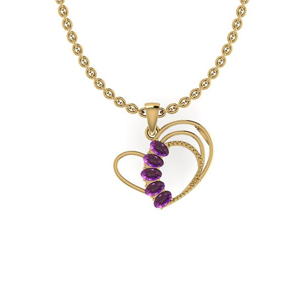 Certified 1.25 Ctw Amethyst 14K Yellow Gold Necklace