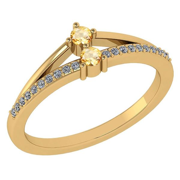 Certified 0.22 Ctw Citrine And Diamond 14k Yellow Gold