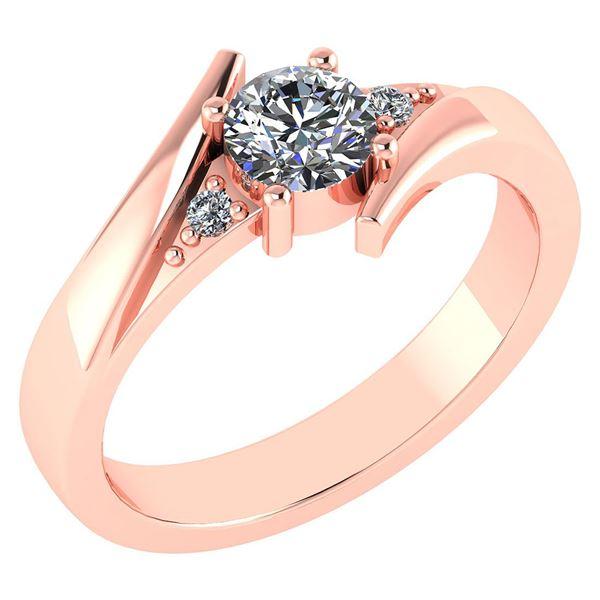 Certified 0.48 Ctw Diamond 14k Rose Gold Ring (VS/SI1)