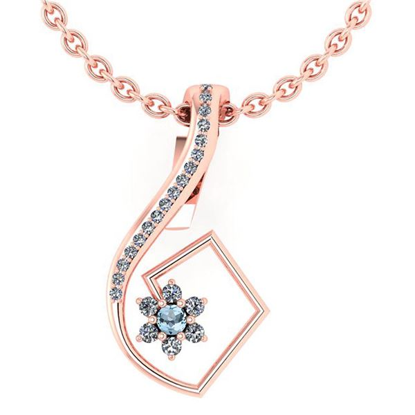 Certified 0.58 Ctw Blue Topaz And Diamond 14k Rose Gold