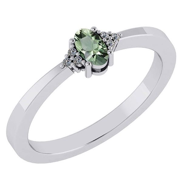 Certified 0.24 Ctw Green Amethyst And Diamond 18K White