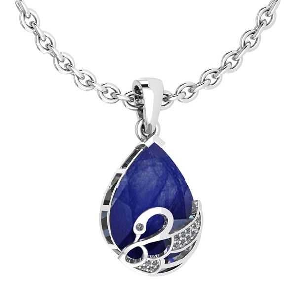 Certified 7.40 Ctw Blue Sapphire And Diamond VS/SI1 Nec