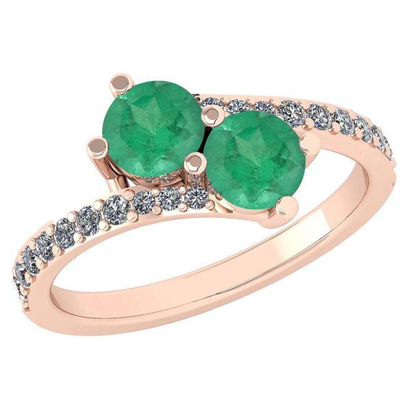 Certified 1.24 Ctw Emerlad And Diamond Wedding/Engageme