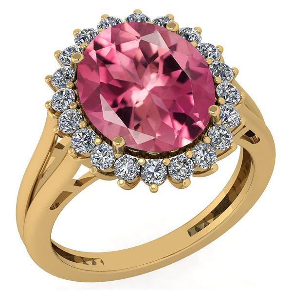 Certified 5.65 Ctw Pink Tourmaline And Diamond VS/SI1 H