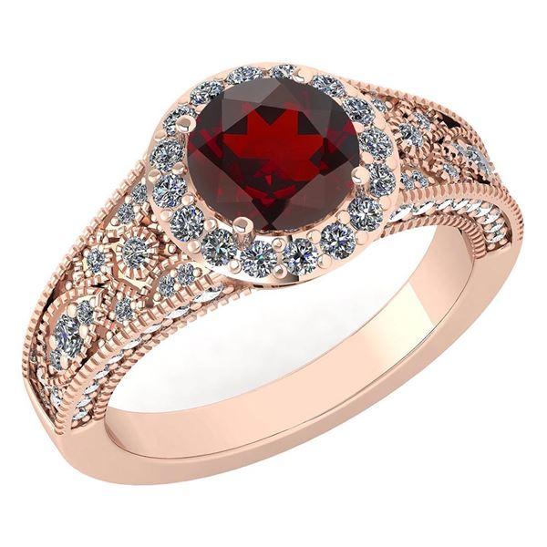 Certified 1.84 Ctw Garnet And Diamond VS/SI1 Halo Ring