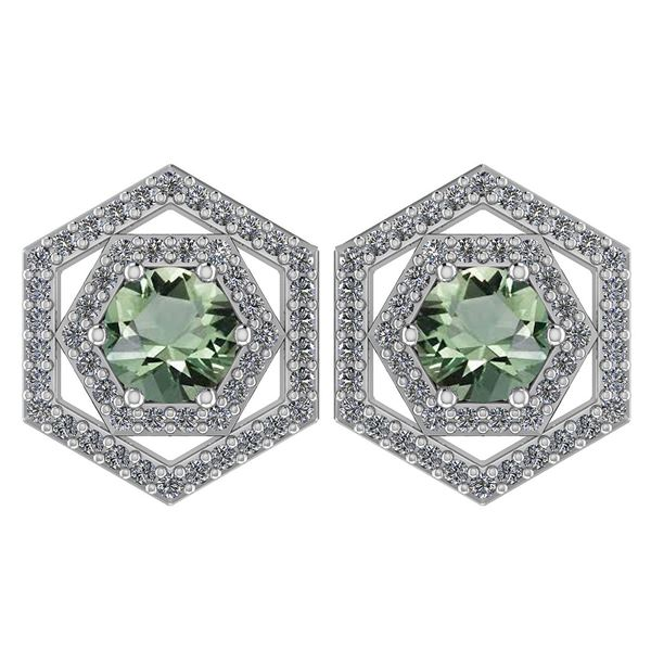 Certified 1.38 Ctw Green Amethyst And Diamond 14k White