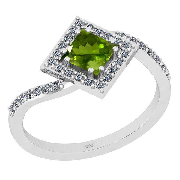 Certified 1.02 Ctw I2/I3 Peridot And Diamond 10K White