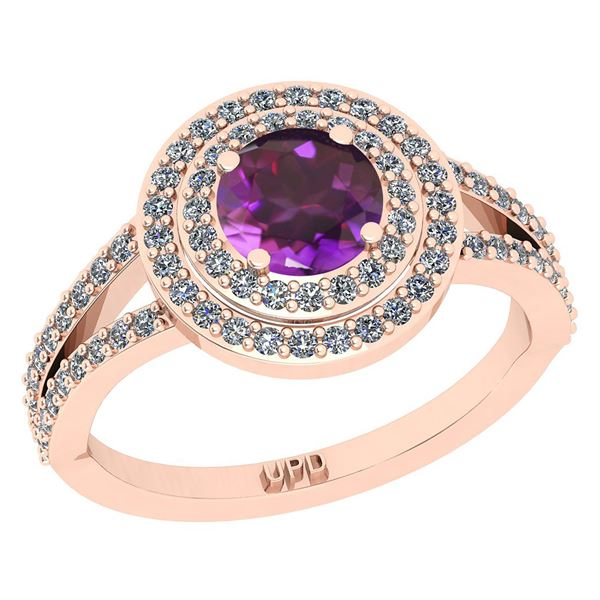 Certified 1.14 Ctw I2/I3 Amethyst And Diamond 10K Rose