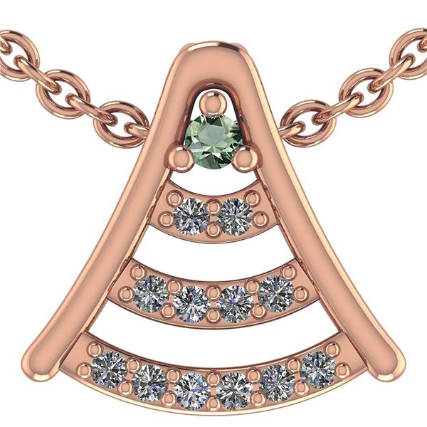 Certified 0.075 Ctw Green Amethyst And Diamond 14k Rose