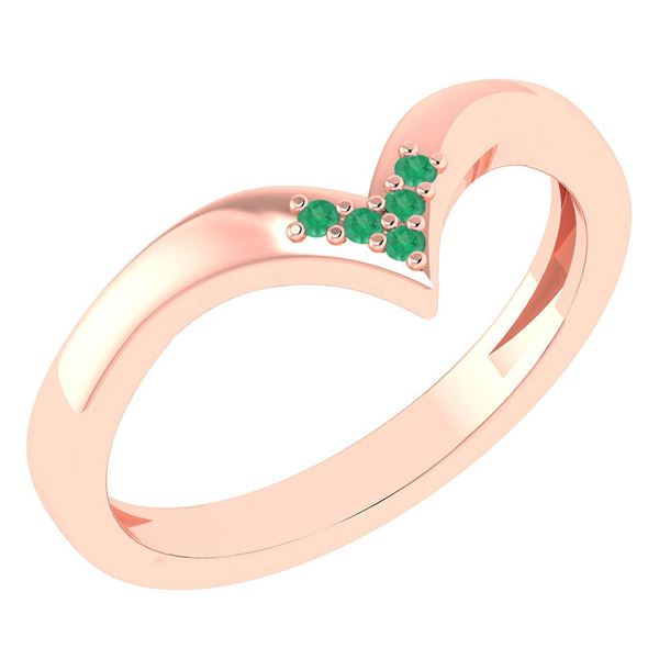 Certified 0.03Ctw Emerald And Diamond 14k Rose Gold Ban